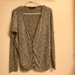 Gray Striped Deep V Cardigan